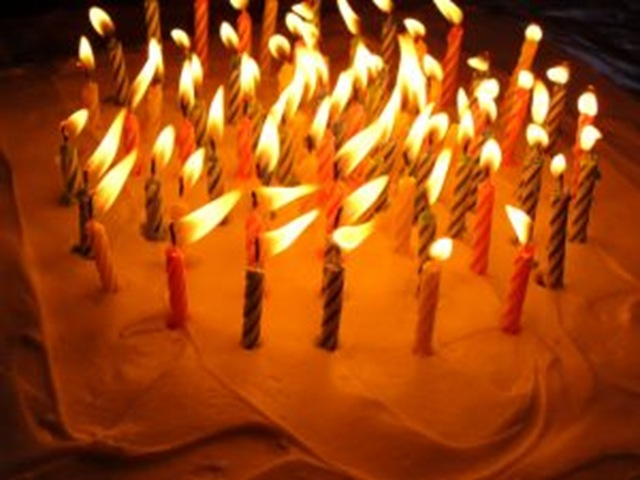 Lovely image of a birthday cake with candles